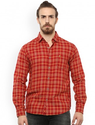 Mufti red color cotton shirt