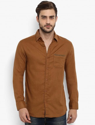 Mufti rust orange casual solid shirt
