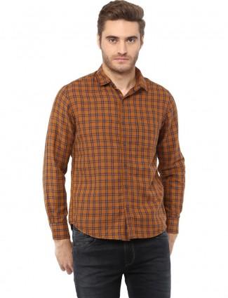 Mufti rust orange checks shirt
