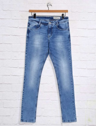 Mufti skinny fit washed sky blue jeans