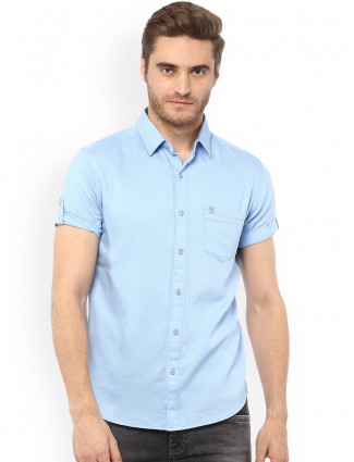 Mufti sky blue color cotton shirt