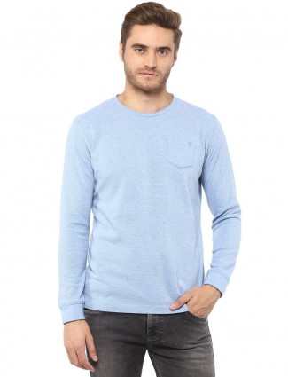 Mufti sky blue solid t-shirt