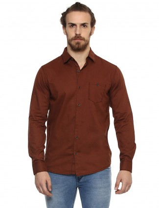 Mufti slim fit brown color shirt