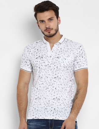 Mufti slim fit white colored printed t-shirt