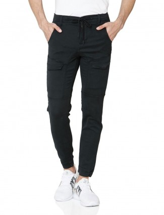 Mufti solid black cargo jeans