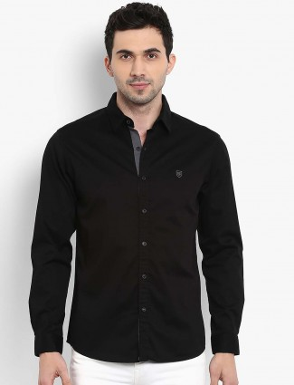 Mufti solid black casual shirt