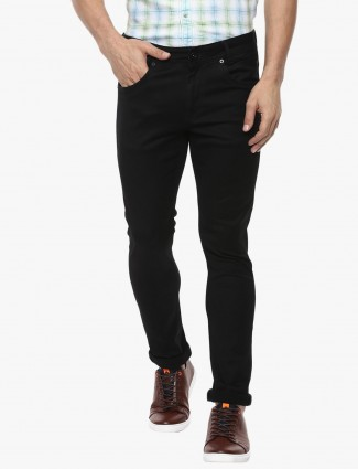 Mufti solid black color casual wear denim jeans