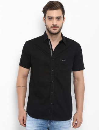 Mufti solid black cotton shirt