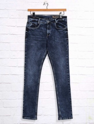 Mufti solid blue skinny fit jeans for mens