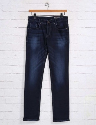 Mufti solid navy denim casual jeans