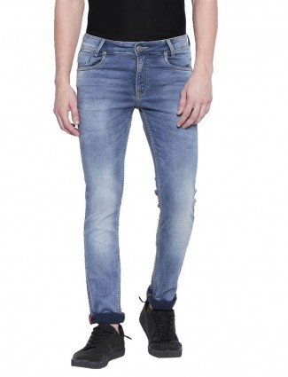 Mufti super slim fit washed light blue jeans