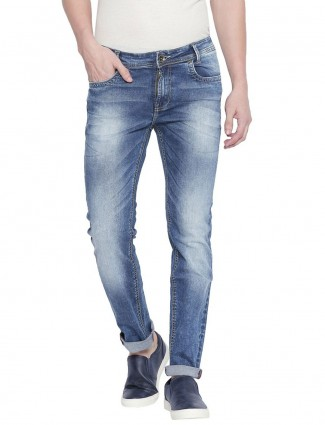 Mufti washed narrow fit blue jeans
