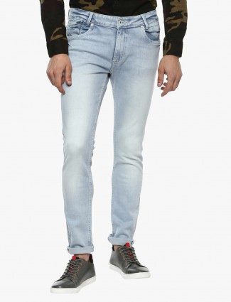 Mufti white blue slim fit jeans