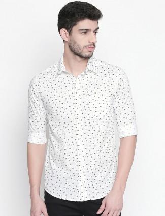 Mufti white printed casual wear shirt