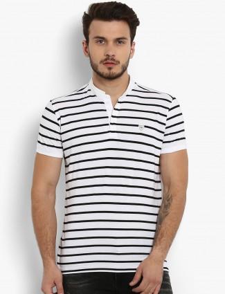 006252a4d5f8 Mufti white slim fit striped t-shirt