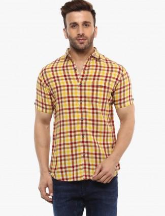 Mufti yellow checks cotton slim fit shirt