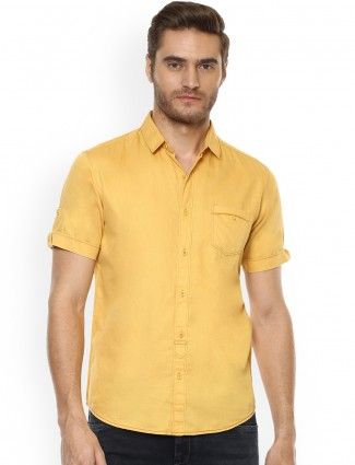 Mufti yellow color plain shirt