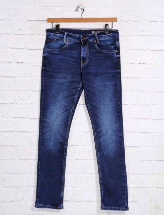 Muftir skinny fit dark blue solid jeans