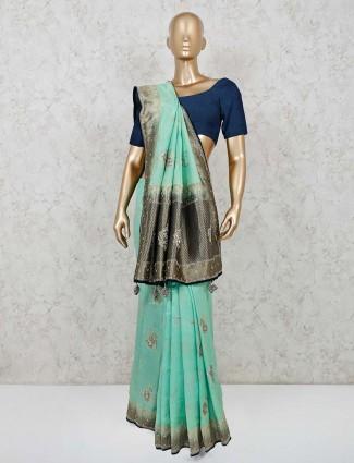Muga silk green festive wear saree
