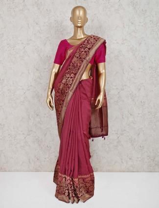 Muga silk onion pink wedding saree