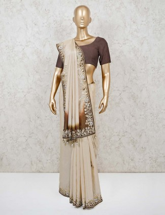 Muga silk saree in beige for wedding