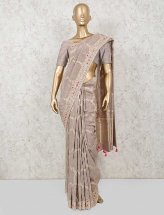 Muga silk saree in light onion pink colour for wedding function