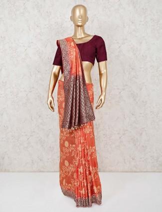 Muga silk saree in orange for festive wear