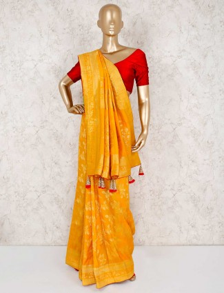 Muga silk yellow saree for haldi