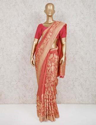 Muga silk zari weaving peach sari
