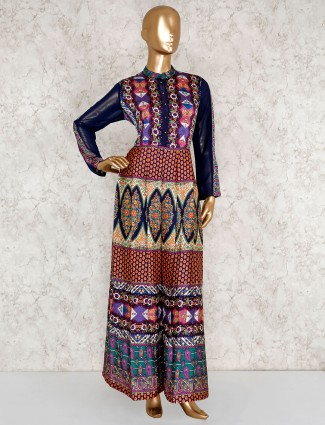Multi color printed salwar suit in muslin silk
