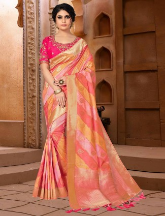 Multi colored semi banarasi silk saree