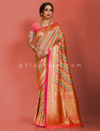 Multicolor art banarasi silk stripe design designer saree