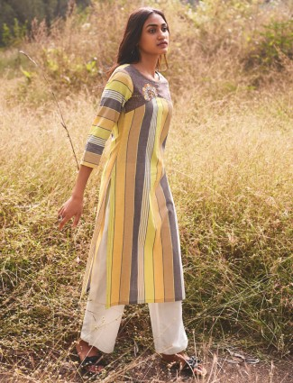 Multicolor casual striped kurti in cotton