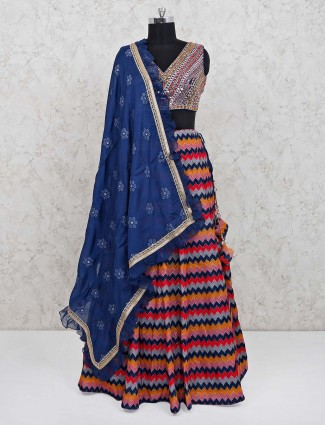 Multicolor satin lehenga choli for evening party