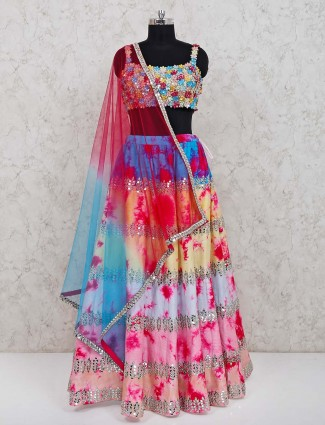 Multicolor silk wedding function lehenga choli with dupatta
