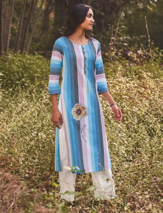 Multicolor stripes pattern cotton kurti