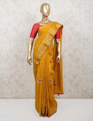 Mustard colour dola silk saree for party days