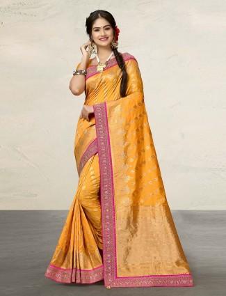 Mustard yellow adorable cotton silk saree