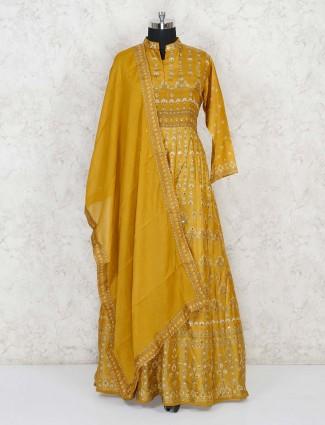 Mustard yellow anarkali salwar suit in cotton silk