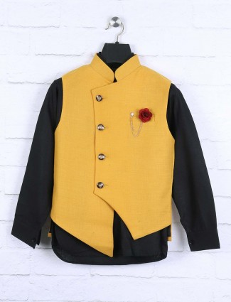 Mustard yellow and black colored waistcoat set