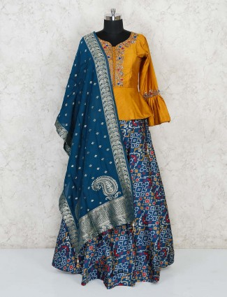 Mustard yellow and blue lehenga style in cotton silk