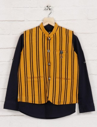Mustard yellow and navy stripe party waistcoat
