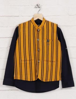 Mustard yellow and navy stripe party waistcoat