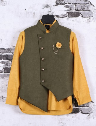 Mustard yellow and olive waistcoat set for boys
