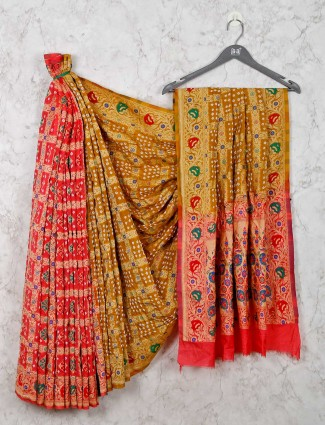 Mustard yellow and red saree for wedding session in bandhej