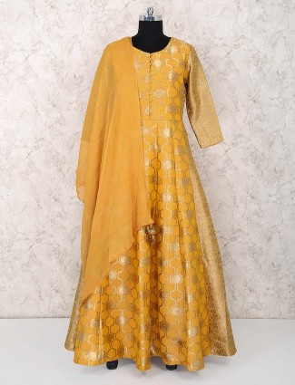 Mustard yellow banarasi silk anarkali salwar suit