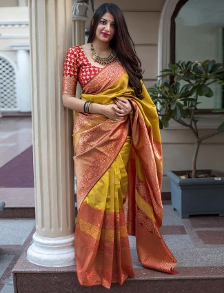 Mustard yellow banarasi silk fabric saree