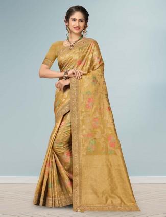 Mustard yellow banarasi silk sari