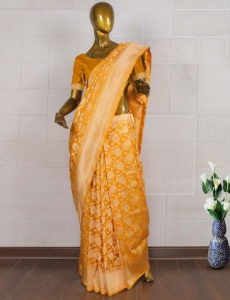 Mustard yellow color banarasi saree