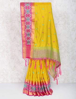 Mustard yellow color cotton silk fabric saree